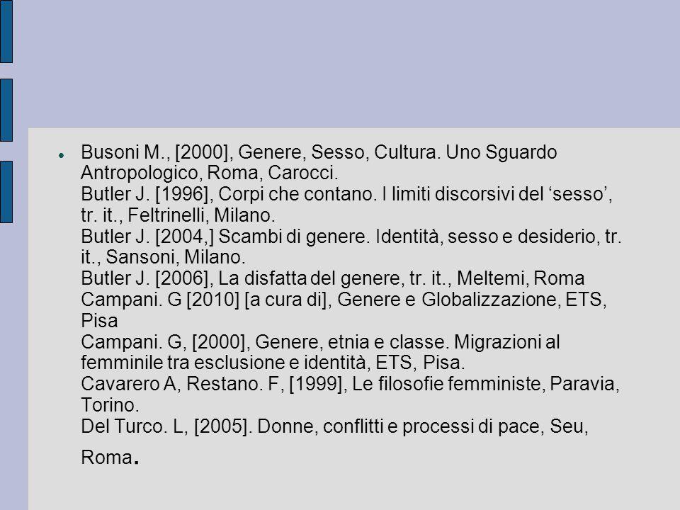 Busoni M. , [2000], Genere, Sesso, Cultura